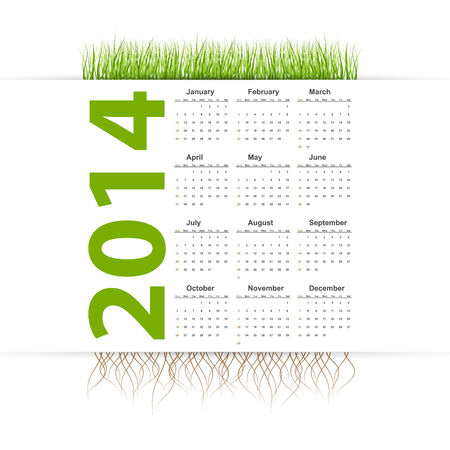 Vector simple 2014 Calendar  Grass style  Vector