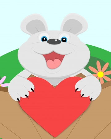 Cute Teddy bear with red heart  Vector illustration  Vector