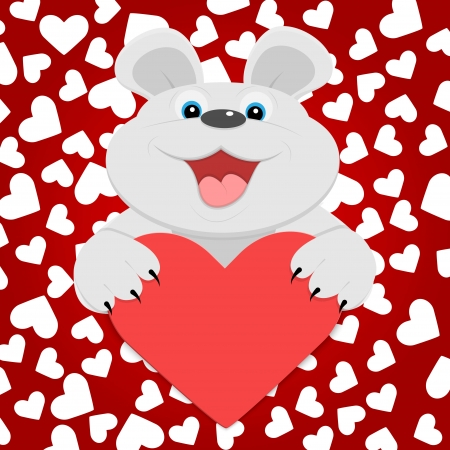 Teddy bear with red heart. Vector illustration.  Vector