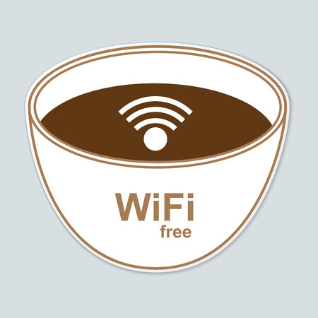 cybercafe: Free wifi vector label