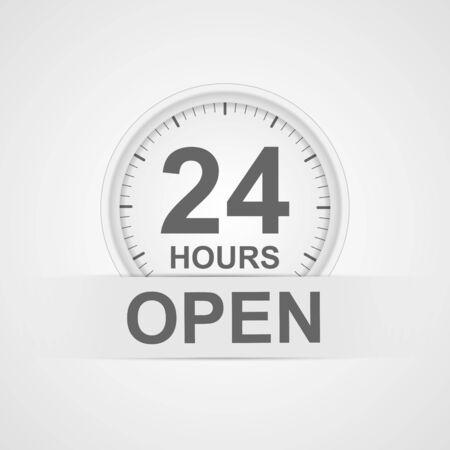 24h: 24 hours customer service icon. Illustration