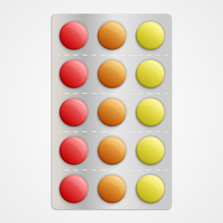 a tablet blister: Realistic 3D medical pills in blister pack.