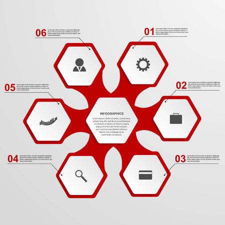 Abstract hexagon infographics template.  Vector