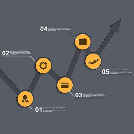 Modern business infographics arrow template. Vector