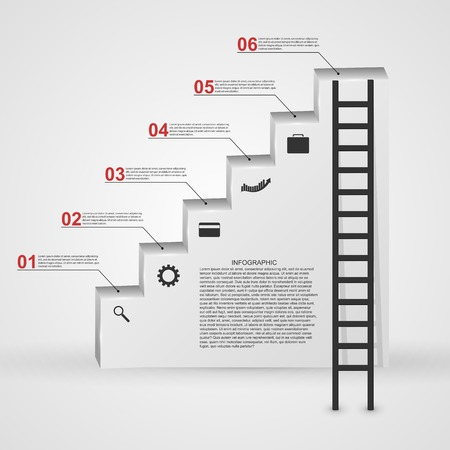 Infographic in the form of steps staircase design concept. Vector