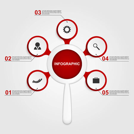 Abstract infographic with a magnifying glass. Vector