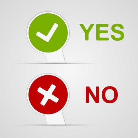 Yes and No icons paper stickers. Vector illustration. Vector