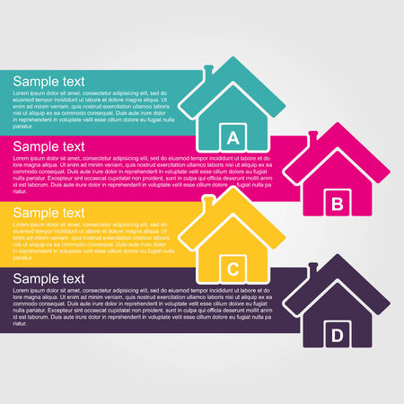 info graphics: Infographic design style colorful house.