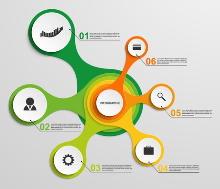 Abstract infographic in the form of metabolic. Design elements. Vector