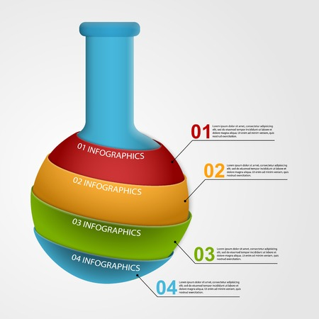 Modern infographic on science and medicine in the form of test tubes. Design elements. Vector