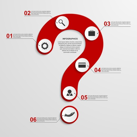 Abstract infographic in the form of question mark. Design elements. Vector