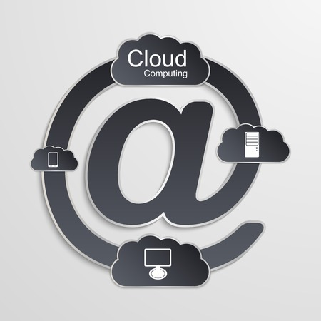 Cloud computing technology concept. Vector