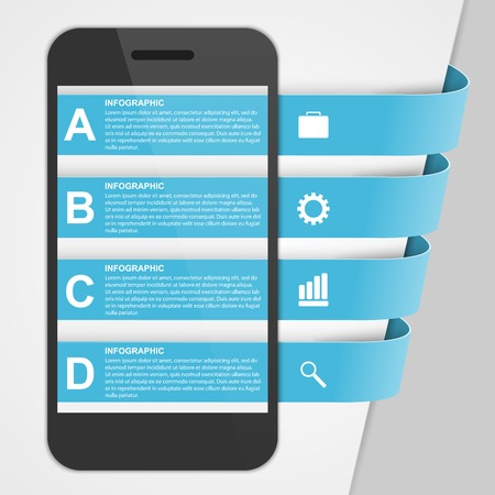 Modern design creative infographic with mobile phone. Vector illustration. Vector