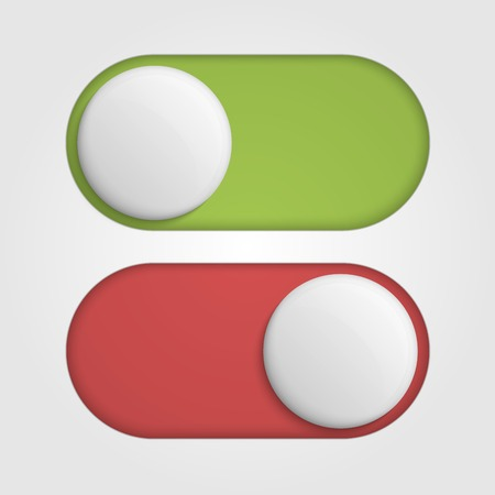 On off 3d switches sliders with red and green color. Vector illustration Illustration
