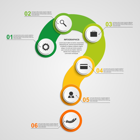 question marks: Abstract colorful infographic in the form of question mark. Design elements.