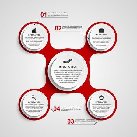 Abstracte cirkel infographic in de vorm van metabole. Design elementen.