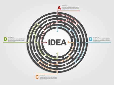 Circle labyrinth infographic concept. Design template. Vector