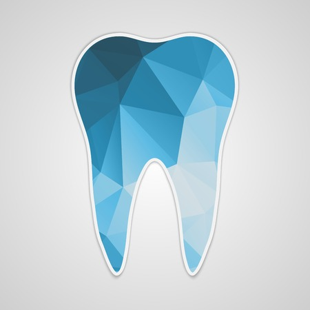 Paper polygonal blue tooth. Vector illustration.