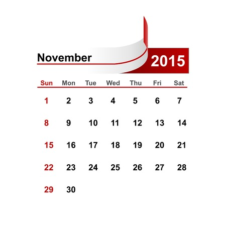 month: Vector simple calendar 2015 year november month.