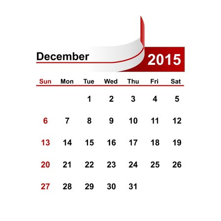 december: Vector simple calendar 2015 year december month.