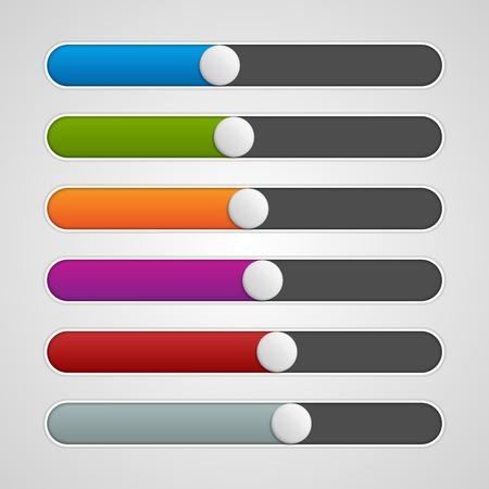 controls: Vector UI sliders colors set. Volume controls. Interface elements. Illustration