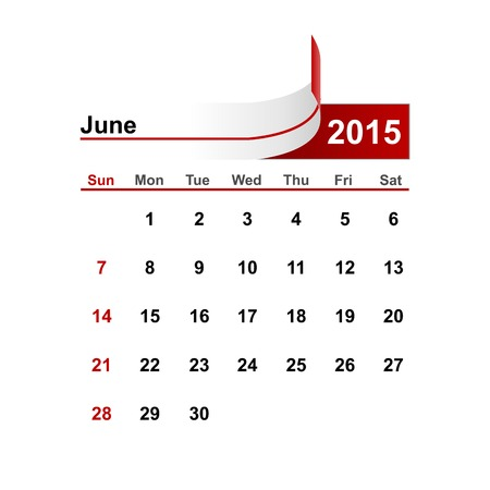 month: Vector simple calendar 2015 year june month.