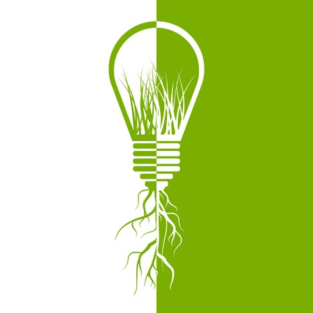 Green light bulb eco energy concept. 일러스트