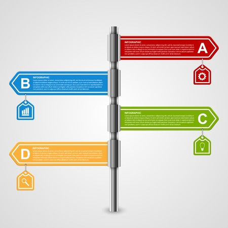 signpost: Vector arrow signpost business options infographics design template.
