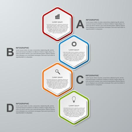 Abstract 3D hexagon business options infographics template. Vector