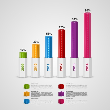 graph paper: 3D chart style infographic design template. Illustration