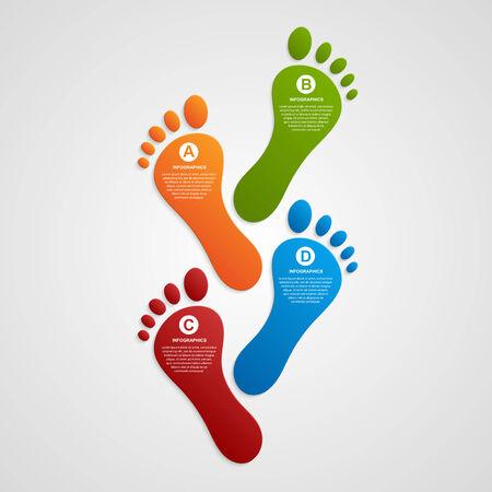 foot steps: Foot modern design template infographics. Vector illustration. Illustration