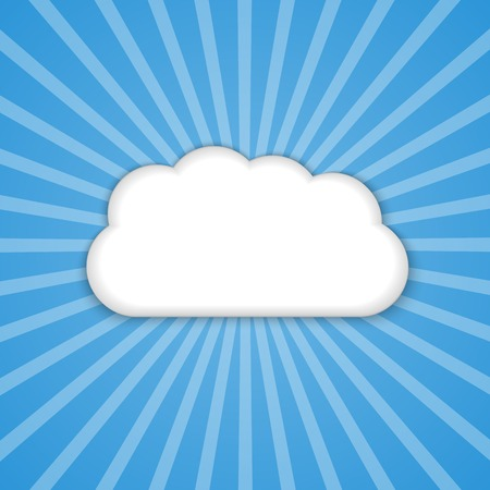 Abstract background cloud in the blue sky with sun rays. Vector illustration. Vector