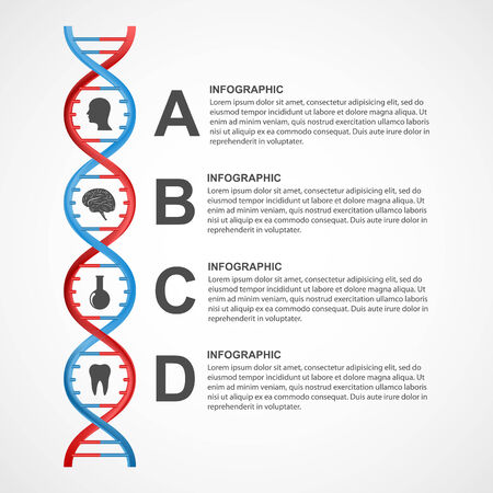 DNA science infographics. Vector design element. Vector