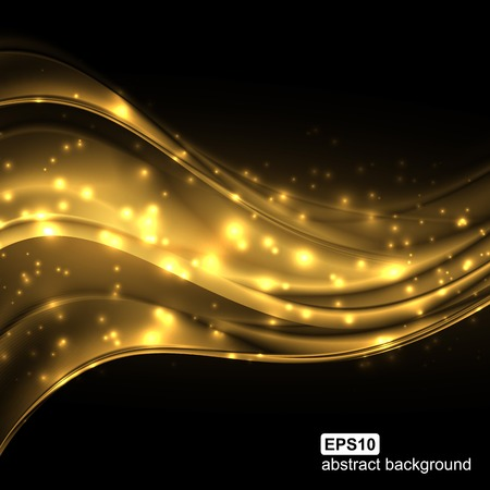 gold textured background: Abstract light wave futuristic background. Vector illustration.