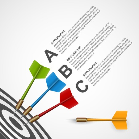 3d concept infographic template target with darts. Vector design. Vector