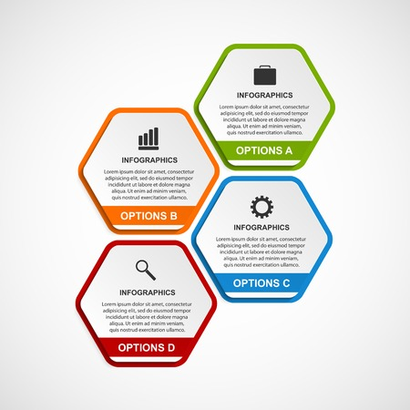 Abstract 3D Hexagon Business Options Infographics Template. Royalty ...
