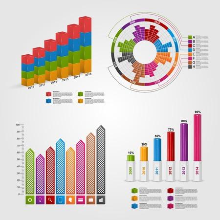 Set kleurrijke zakelijke grafiek voor infographic en rapporten.
