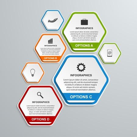 Abstracte 3D hexagon zakelijke opties infographics sjabloon.