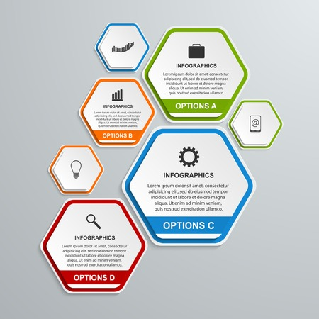Abstract 3D hexagon business options infographics template. Illustration