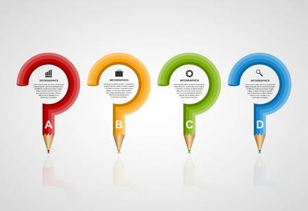 Education pencil option Infographics design template.  イラスト・ベクター素材