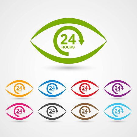 eye service: 24 hours customer service icon in the form of eye.