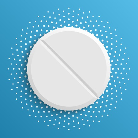 pharmacy pills: The white pill on a blue background. Vector Illustration. Illustration