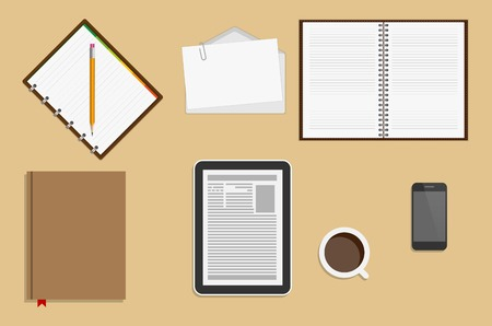 Icons Office Supplies. Business Workplace Concept. Vector Illustration. Vector