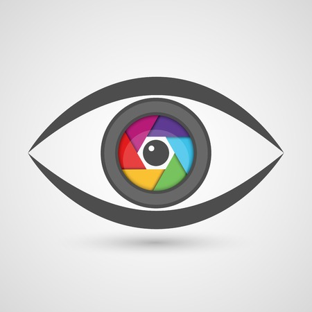 Icon eye as camera lens with colorful diaphragm shutter. Vector illustration