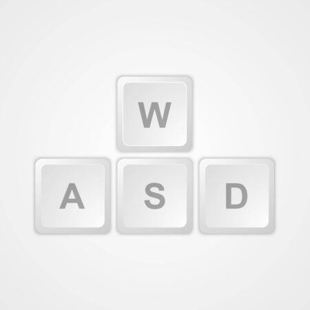 Computer keyboard WASD gaming buttons. Vector Illustration. Vector