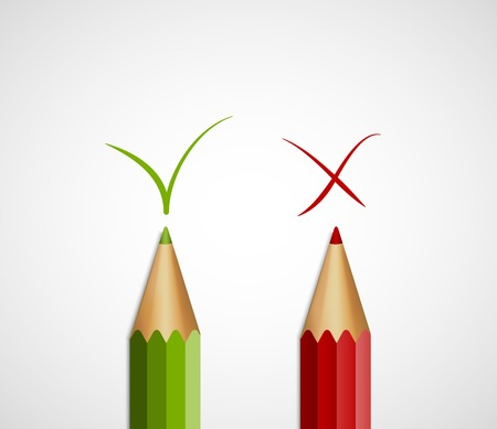 green tick: Pencil green tick and red cross. With Yes And No. Vector Illustration. Illustration