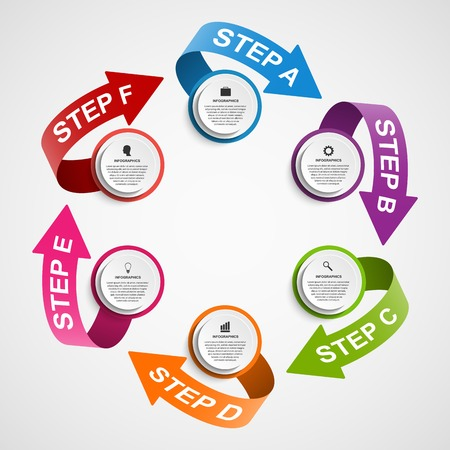 Abstract infographic design template in the form of paper arrows. 일러스트
