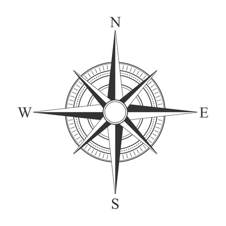 Vector black compass icons. 矢量图像