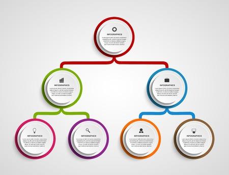 Infographic design organization chart template. Vettoriali