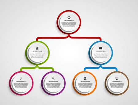 process chart: Infographic design organization chart template. Illustration